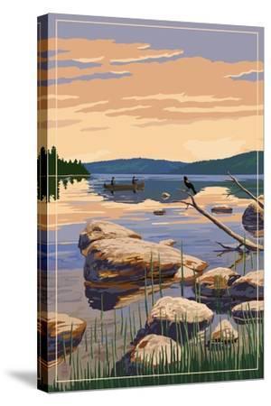 Lake Sunrise Scene-Lantern Press-Stretched Canvas Print