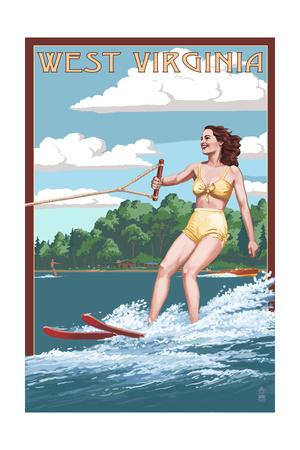 West Virginia - Water Skier and Lake-Lantern Press-Framed Art Print