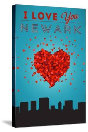I Love You Newark, New Jersey-Lantern Press-Stretched Canvas Print