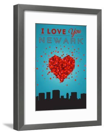 I Love You Newark, New Jersey-Lantern Press-Framed Art Print