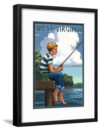 West Virginia - Boy Fishing-Lantern Press-Framed Art Print