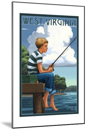 West Virginia - Boy Fishing-Lantern Press-Mounted Art Print