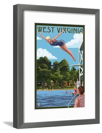 West Virginia - Woman Diving and Lake-Lantern Press-Framed Art Print