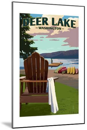 Deer Lake, Washington - Adirondack Chairs and Lake-Lantern Press-Mounted Art Print