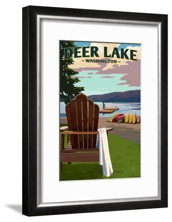 Deer Lake, Washington - Adirondack Chairs and Lake-Lantern Press-Framed Art Print
