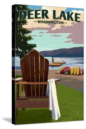 Deer Lake, Washington - Adirondack Chairs and Lake-Lantern Press-Stretched Canvas Print