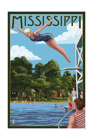 Mississippi - Woman Diving and Lake-Lantern Press-Framed Art Print
