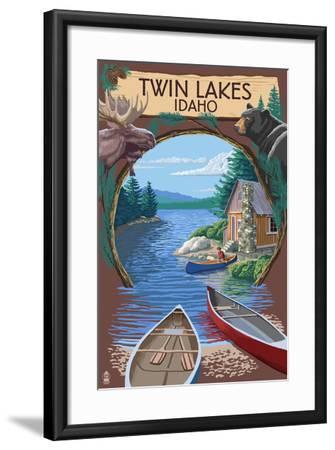 Twin Lakes, Idaho - Cabin on Lake Montage-Lantern Press-Framed Art Print