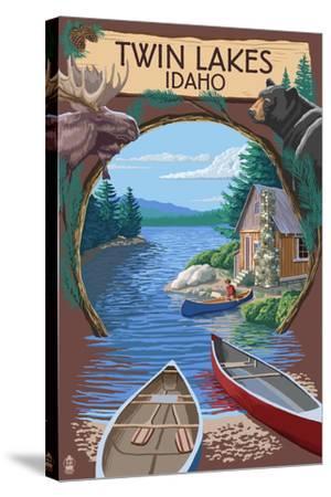 Twin Lakes, Idaho - Cabin on Lake Montage-Lantern Press-Stretched Canvas Print