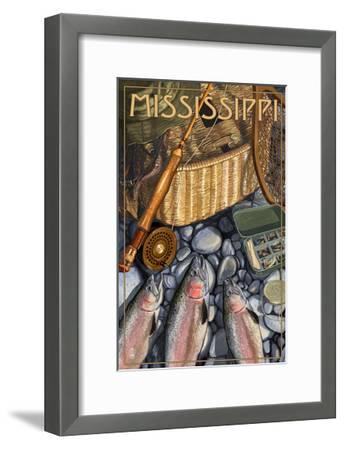 Mississippi - Fishing Still Life-Lantern Press-Framed Art Print