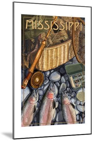 Mississippi - Fishing Still Life-Lantern Press-Mounted Art Print