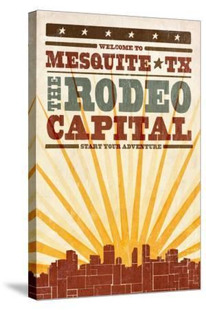 Mesquite, Texas - Skyline and Sunburst Screenprint Style-Lantern Press-Stretched Canvas Print