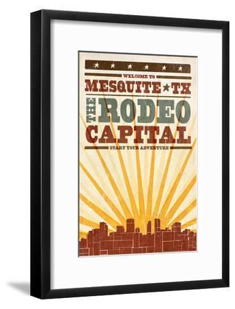 Mesquite, Texas - Skyline and Sunburst Screenprint Style-Lantern Press-Framed Art Print