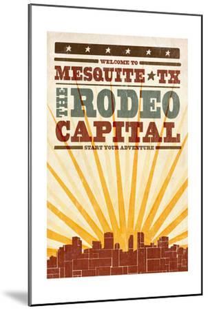 Mesquite, Texas - Skyline and Sunburst Screenprint Style-Lantern Press-Mounted Art Print