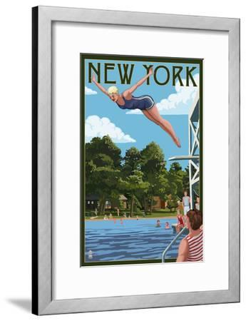 New York - Woman Diving and Lake-Lantern Press-Framed Art Print
