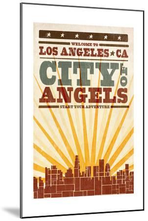 Los Angeles, California - Skyline and Sunburst Screenprint Style-Lantern Press-Mounted Art Print