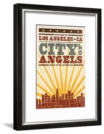 Los Angeles, California - Skyline and Sunburst Screenprint Style-Lantern Press-Framed Art Print