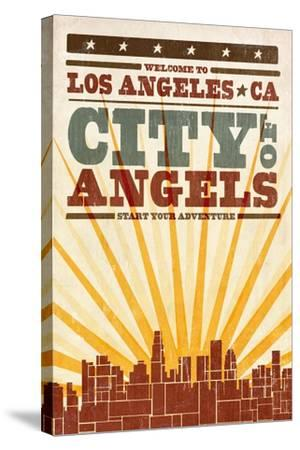 Los Angeles, California - Skyline and Sunburst Screenprint Style-Lantern Press-Stretched Canvas Print