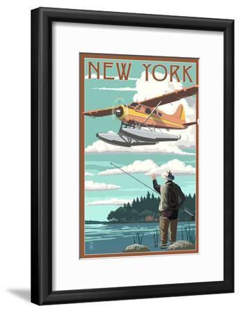 New York - Float Plane and Fisherman-Lantern Press-Framed Art Print