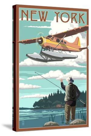 New York - Float Plane and Fisherman-Lantern Press-Stretched Canvas Print