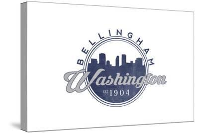 Bellingham, Washington - Skyline Seal (Blue)-Lantern Press-Stretched Canvas Print