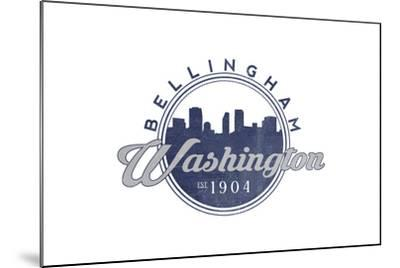 Bellingham, Washington - Skyline Seal (Blue)-Lantern Press-Mounted Art Print
