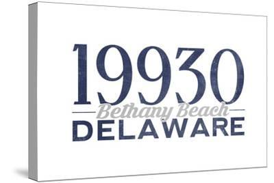 Bethany Beach, Delaware - 19930 Zip Code (Blue)-Lantern Press-Stretched Canvas Print