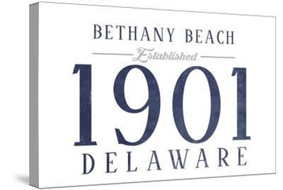 Bethany Beach, Delaware - Established Date (Blue)-Lantern Press-Stretched Canvas Print