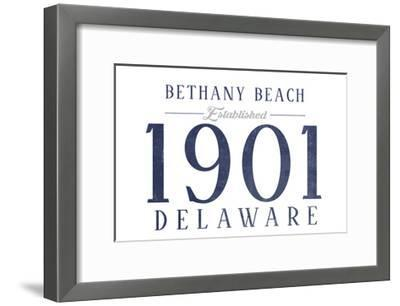 Bethany Beach, Delaware - Established Date (Blue)-Lantern Press-Framed Art Print
