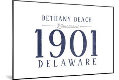 Bethany Beach, Delaware - Established Date (Blue)-Lantern Press-Mounted Art Print