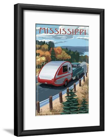 Mississippi - Retro Camper on Road-Lantern Press-Framed Art Print