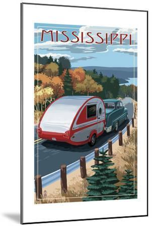Mississippi - Retro Camper on Road-Lantern Press-Mounted Art Print