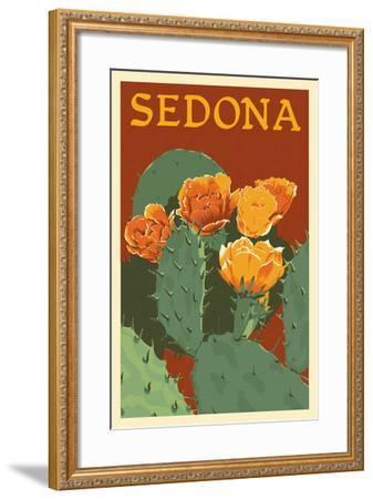 Sedona, Arizona - Prickly Pear Cactus - Letterpress-Lantern Press-Framed Art Print