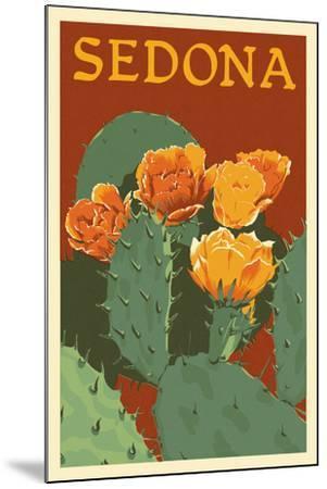 Sedona, Arizona - Prickly Pear Cactus - Letterpress-Lantern Press-Mounted Art Print