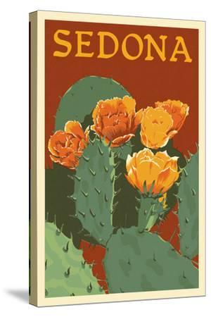 Sedona, Arizona - Prickly Pear Cactus - Letterpress-Lantern Press-Stretched Canvas Print