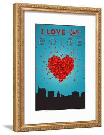 I Love You Boise, Idaho-Lantern Press-Framed Art Print