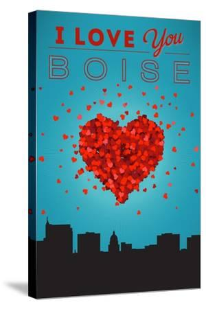 I Love You Boise, Idaho-Lantern Press-Stretched Canvas Print