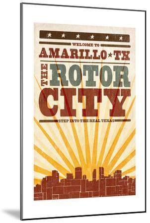 Amarillo, Texas - Skyline and Sunburst Screenprint Style-Lantern Press-Mounted Art Print