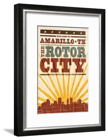 Amarillo, Texas - Skyline and Sunburst Screenprint Style-Lantern Press-Framed Art Print