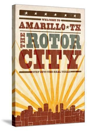Amarillo, Texas - Skyline and Sunburst Screenprint Style-Lantern Press-Stretched Canvas Print