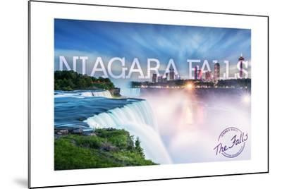 Niagara Falls - Falls and Skyline-Lantern Press-Mounted Art Print