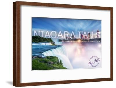 Niagara Falls - Falls and Skyline-Lantern Press-Framed Art Print