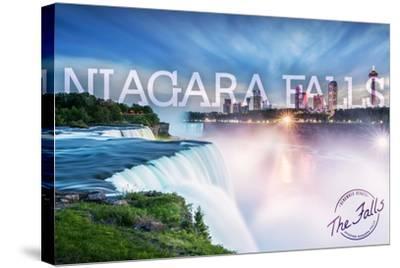 Niagara Falls - Falls and Skyline-Lantern Press-Stretched Canvas Print