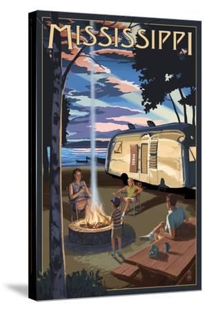 Mississippi - Retro Camper and Lake-Lantern Press-Stretched Canvas Print