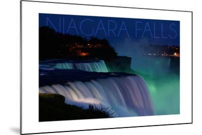 Niagara Falls - Falls and Green Lights at Night-Lantern Press-Mounted Art Print