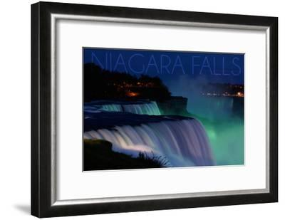 Niagara Falls - Falls and Green Lights at Night-Lantern Press-Framed Art Print