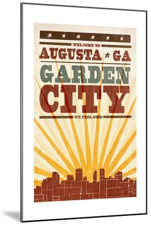 Augusta, Georgia - Skyline and Sunburst Screenprint Style-Lantern Press-Mounted Art Print