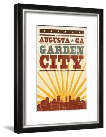 Augusta, Georgia - Skyline and Sunburst Screenprint Style-Lantern Press-Framed Art Print