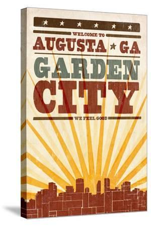 Augusta, Georgia - Skyline and Sunburst Screenprint Style-Lantern Press-Stretched Canvas Print