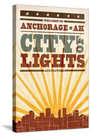 Anchorage, Alaska - Skyline and Sunburst Screenprint Style-Lantern Press-Stretched Canvas Print